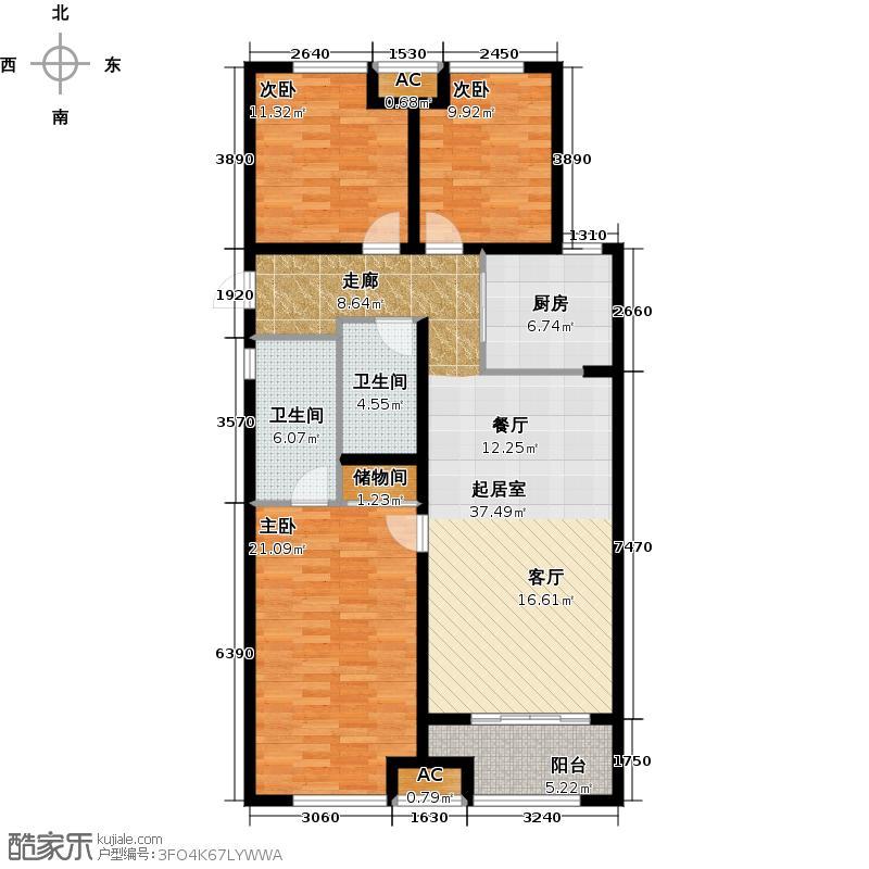 万科金域缇香117.00㎡南地块E户型 三室两厅两卫户型3室2厅1卫