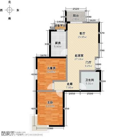 金海国际花园2室0厅1卫1厨77.00㎡户型图