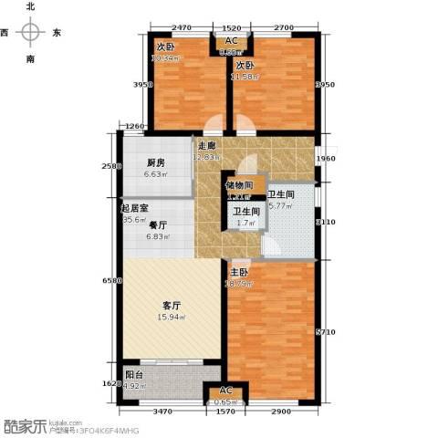 万科金域缇香3室0厅2卫1厨110.00㎡户型图