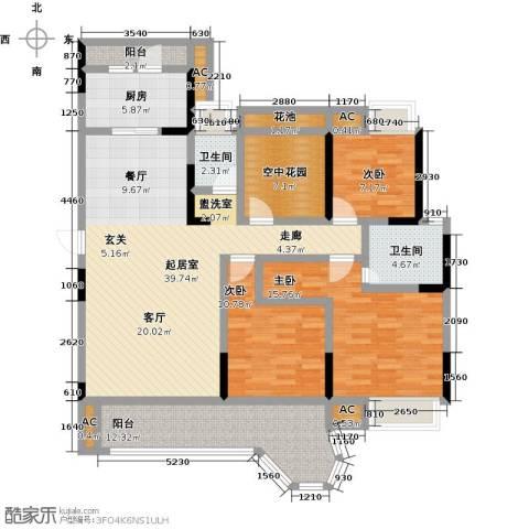 南山金城19583室0厅2卫1厨132.00㎡户型图