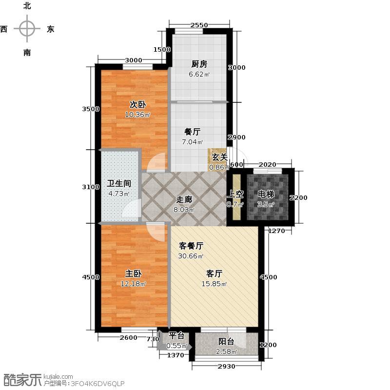 雯霆华苑94.54㎡二室二厅一卫 94.54平户型2室2厅1卫