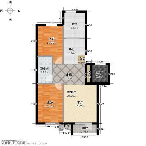 雯霆华苑2室1厅1卫1厨95.00㎡户型图