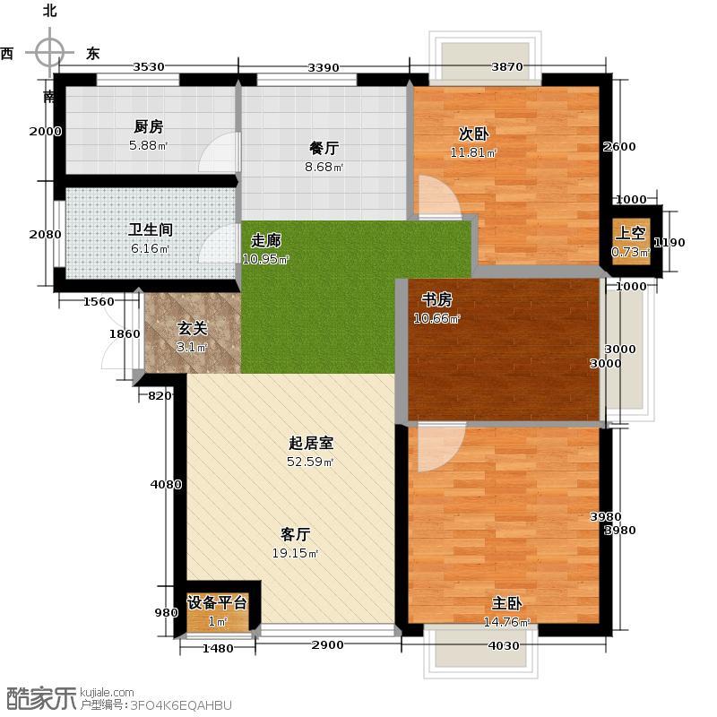 玩美天地104.00㎡3.7号楼三层平面图A户型2室2厅1卫