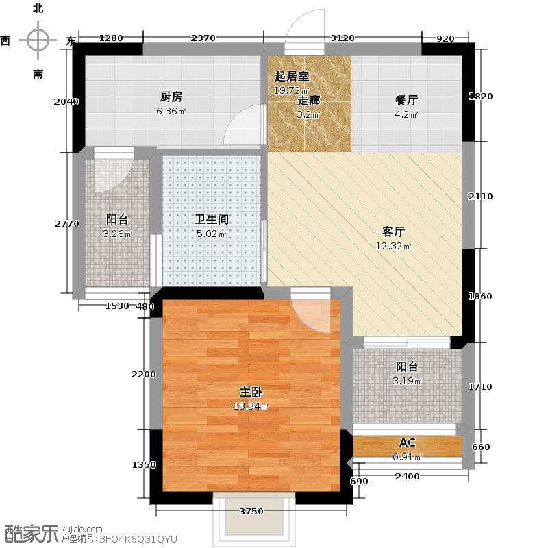 富城湾58.61㎡二期GY2户型1室1厅1卫