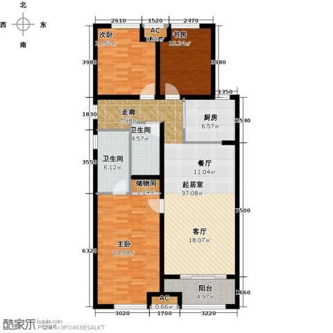 万科金域缇香3室0厅2卫1厨117.00㎡户型图