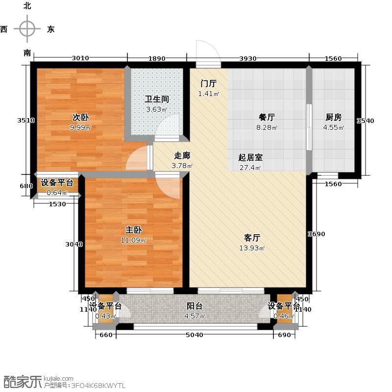 金海国际花园85.00㎡2-2居室85.17m2户型21-23户型
