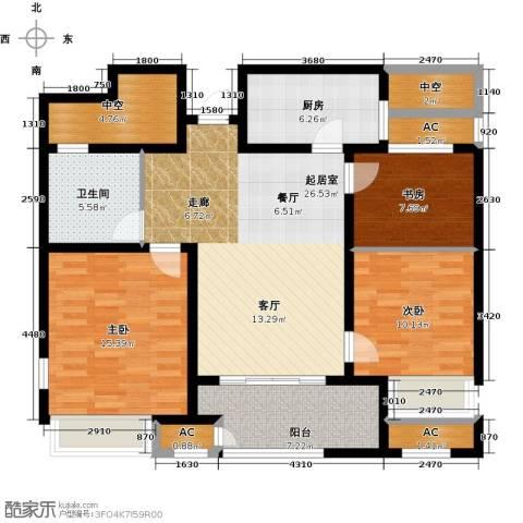 新城香溢紫郡3室0厅1卫1厨104.73㎡户型图