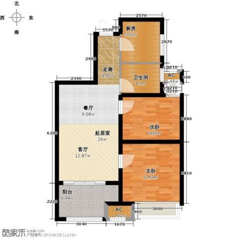新城香溢紫郡2室0厅1卫1厨76.43㎡户型图