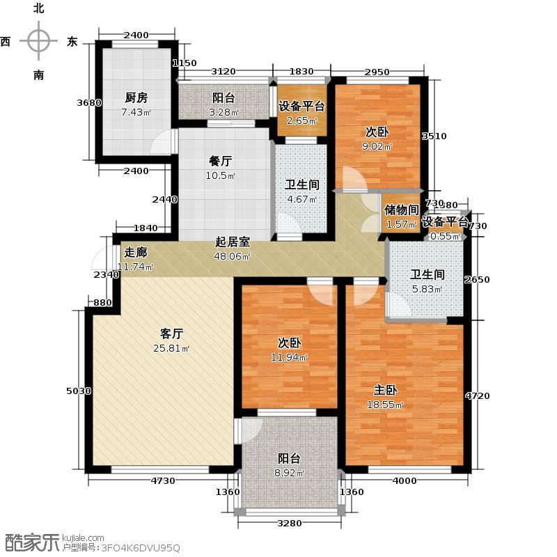 仁恒双湖湾140.00㎡H3户型 3室2厅2卫户型3室2厅2卫