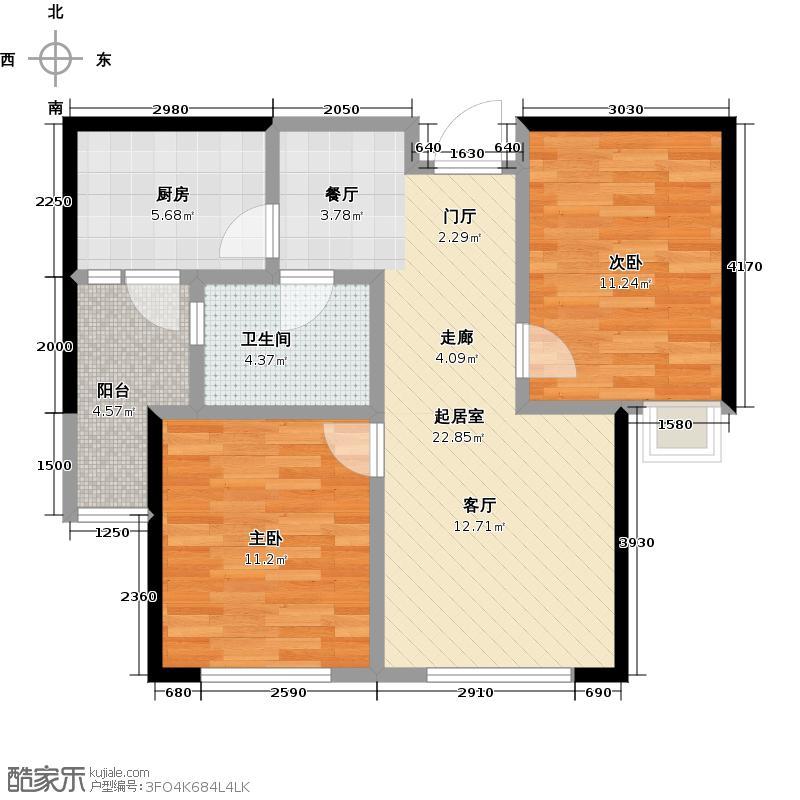 鹿山B鹿山5#6#9#74,99-76,29平米两室两厅一卫户型