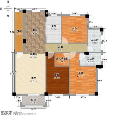 远洲国际城3室1厅2卫0厨126.00㎡户型图