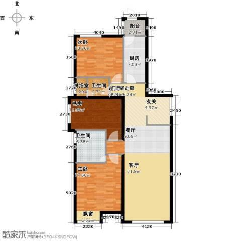 天津富力桃园3室0厅2卫1厨142.00㎡户型图