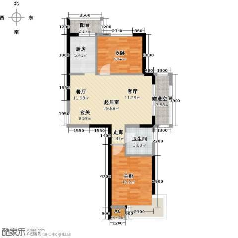 中铁万科香湖盛景2室0厅1卫0厨91.00㎡户型图