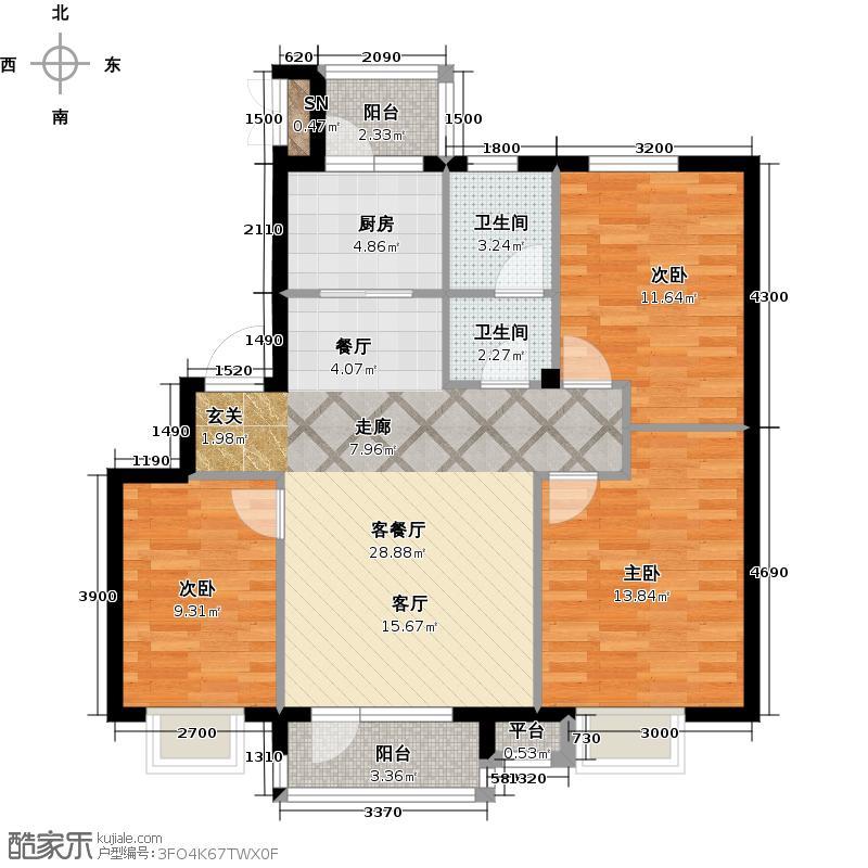 雯霆华苑97.10㎡三室二厅一卫 97.10平户型3室2厅1卫