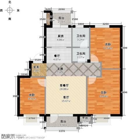 雯霆华苑3室1厅2卫1厨97.00㎡户型图
