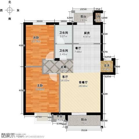 雯霆华苑2室1厅2卫1厨88.00㎡户型图