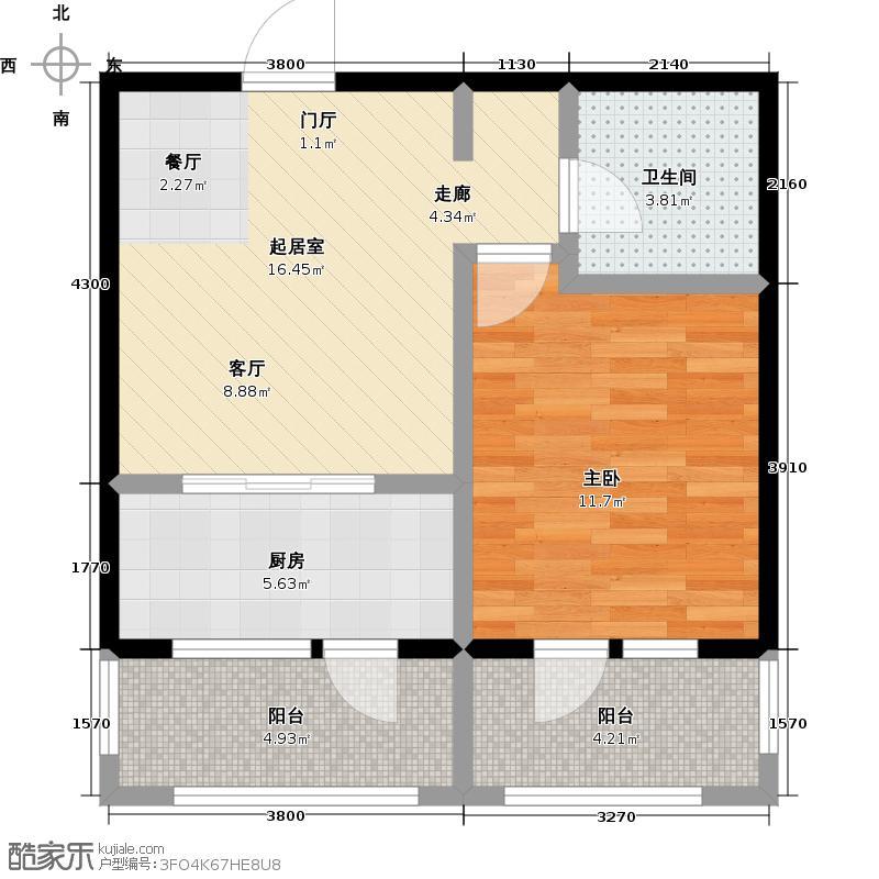 鹿山4#楼 B户型1室1厅1卫
