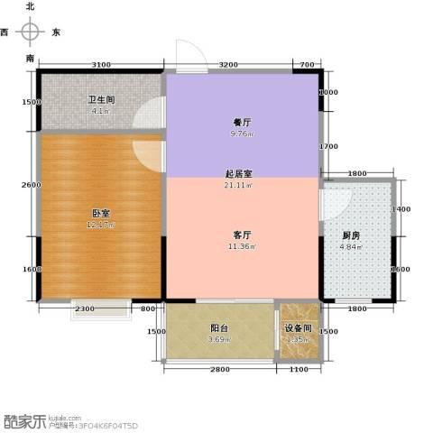 金泰怡景花园1卫1厨51.16㎡户型图