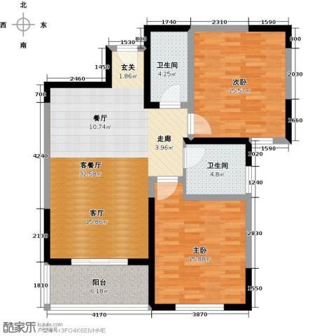 百欣花园2室1厅2卫0厨96.00㎡户型图