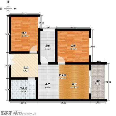 百欣花园2室0厅1卫1厨88.00㎡户型图