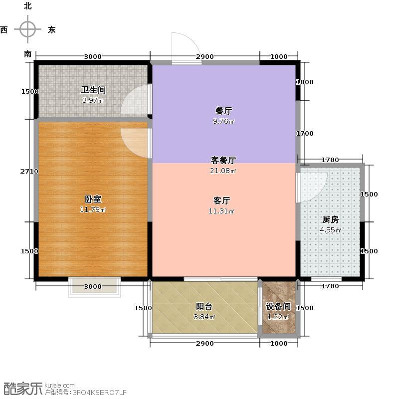 金泰怡景花园60.00㎡A3户型一室两厅一卫户型1室2厅1卫