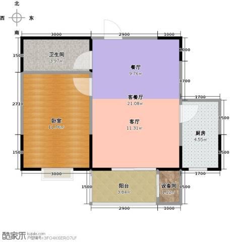 金泰怡景花园1厅1卫1厨50.28㎡户型图
