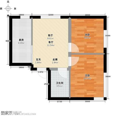 凯荣禧乐都2室1厅1卫1厨59.00㎡户型图