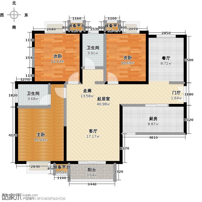 东城新一家143.39㎡2号地住宅B户型5号楼3室2厅2卫户型3室2厅2卫
