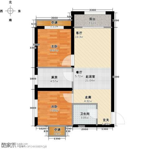 莱茵小城2室0厅1卫1厨68.00㎡户型图