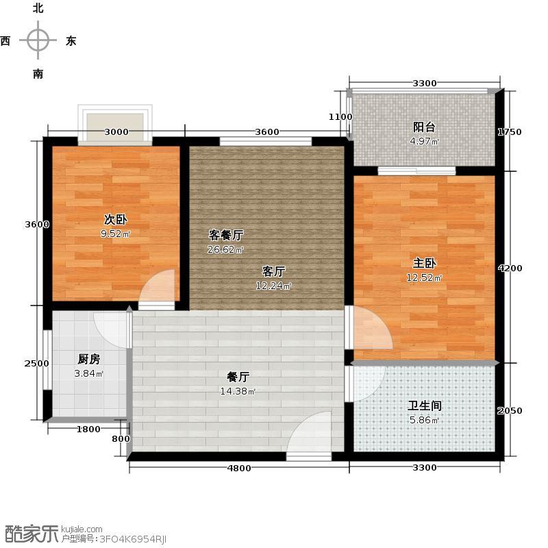 皇族名居2期二期6#楼C9户型2室2厅1卫