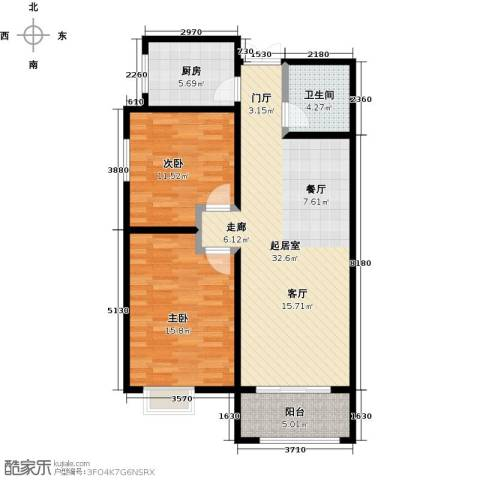 景泰茗苑2室0厅1卫1厨102.00㎡户型图
