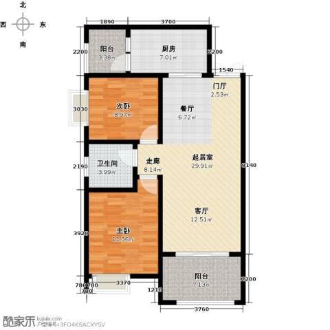 景泰茗苑2室0厅1卫1厨87.00㎡户型图