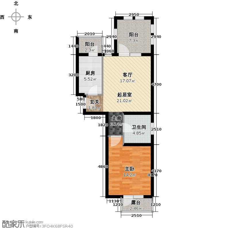 金筑家园74.59㎡A户型1室1厅1卫