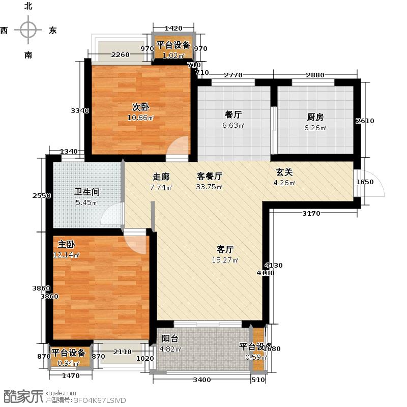 绿地国际花都B1-1户型2室2厅1卫1厨87.00㎡户型2室2厅1卫