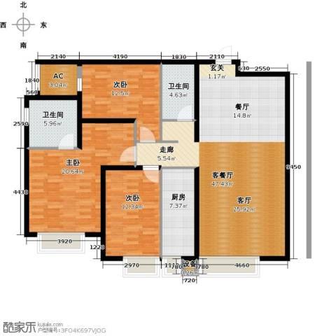 保利金香槟3室1厅2卫1厨153.00㎡户型图
