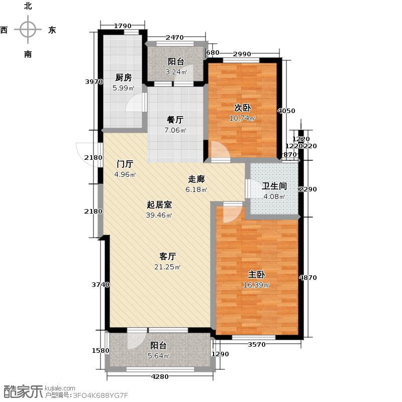鹿山1#2#楼 B户型2室2厅1卫