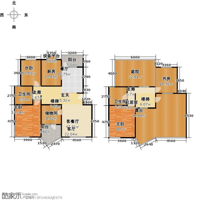 清谷三室两厅两卫户型