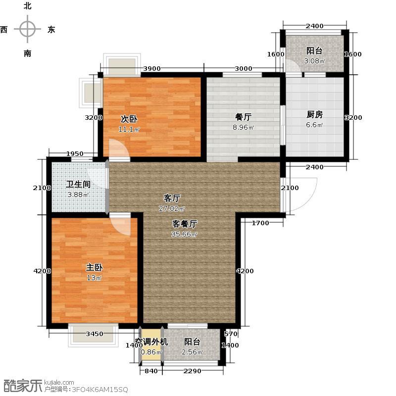 天津湾海景雅苑113.70㎡B户型 2室2厅1卫户型2室2厅1卫