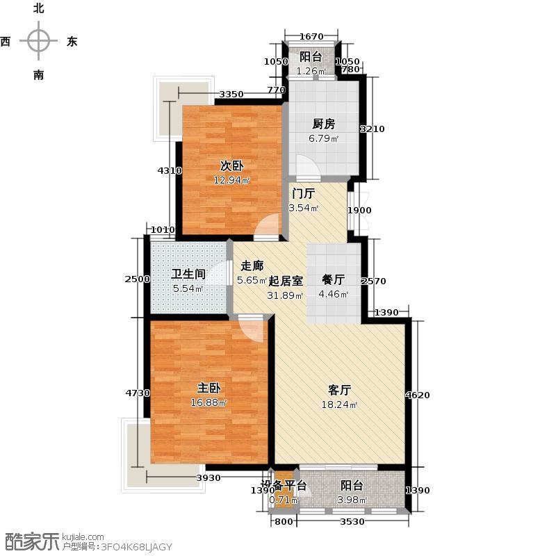 金海国际花园90.00㎡金海国际花园90.00㎡2室2厅1卫户型2室2厅1卫