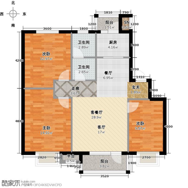 雯霆华苑110.43㎡三室二厅一卫 110.43平户型3室2厅1卫