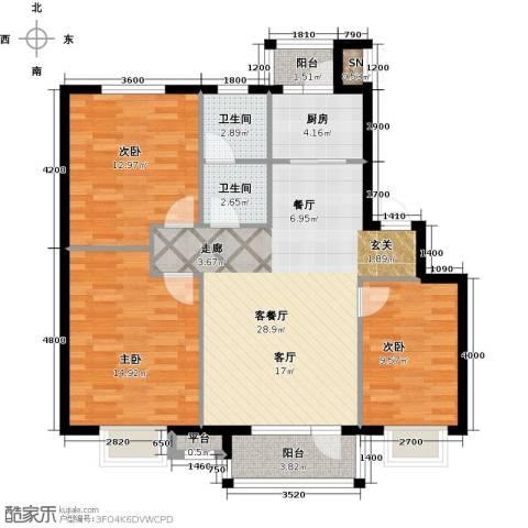 雯霆华苑3室1厅2卫1厨110.00㎡户型图