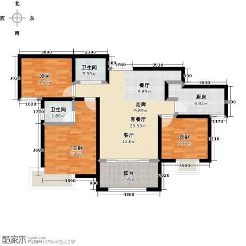 紫麟苑3室1厅2卫1厨122.00㎡户型图