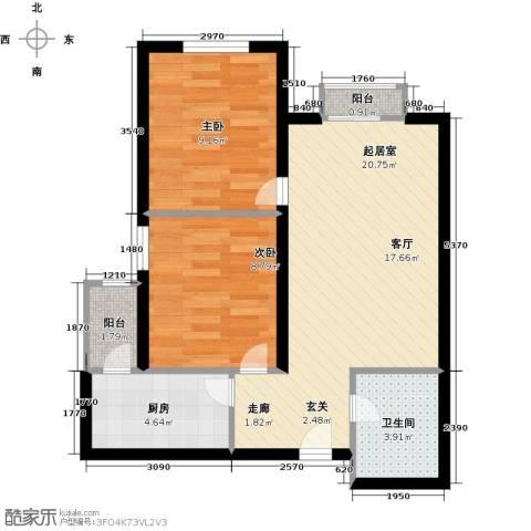 先锋领寓2室0厅1卫1厨57.00㎡户型图
