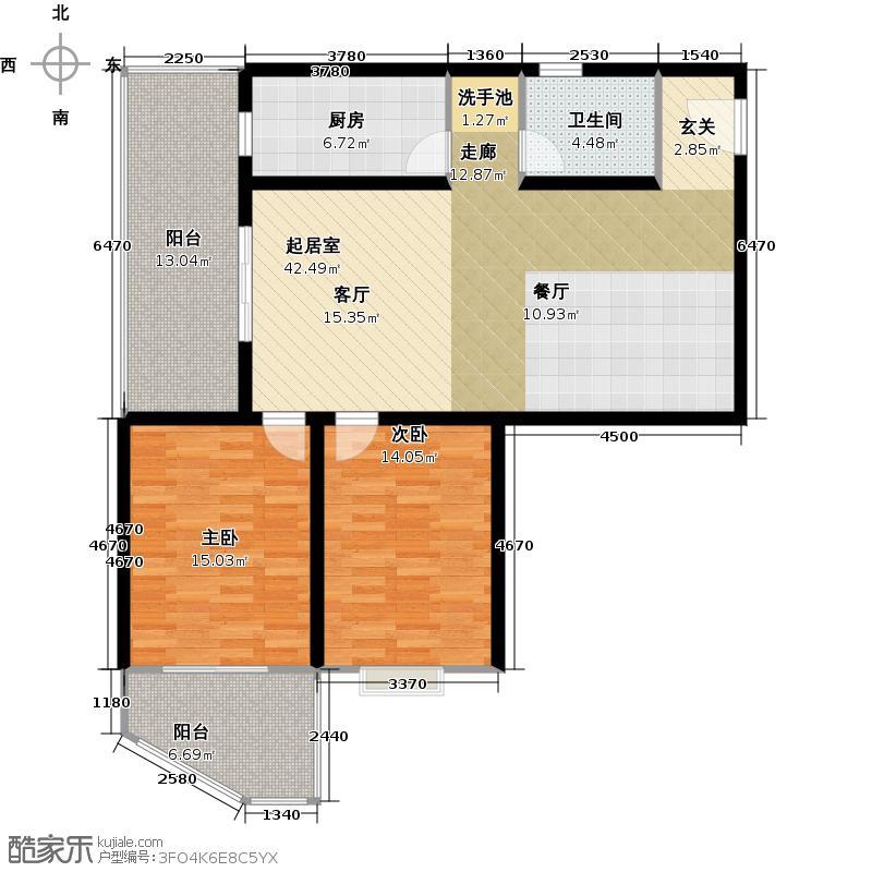 家乐府114.08㎡B4户型图户型2室2厅1卫