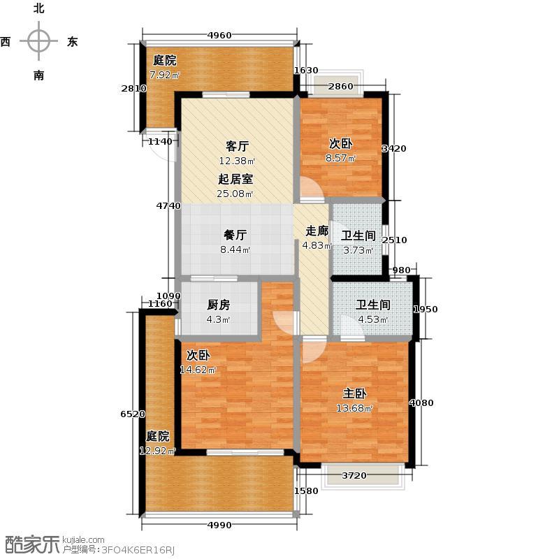 和达和城109.00㎡多层20号、21号楼1D户型3室2厅2卫