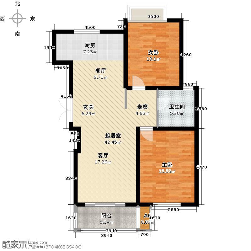 鸿运家园93.00㎡H户型2室1厅1卫QQ