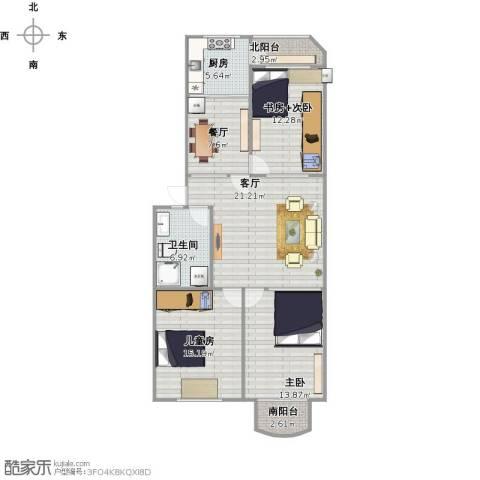 益寿家园2室2厅1卫1厨119.00㎡户型图