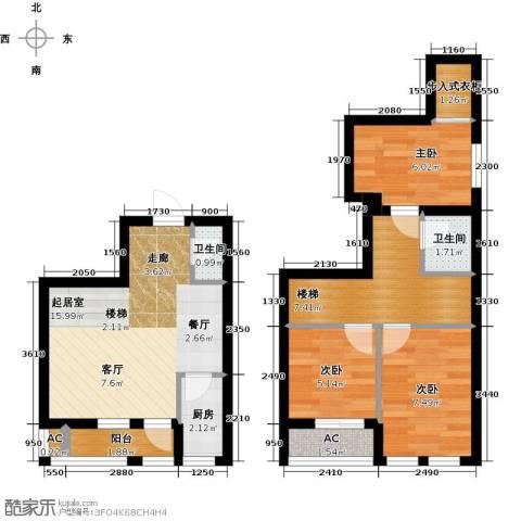 太奥广场3室0厅2卫1厨62.00㎡户型图