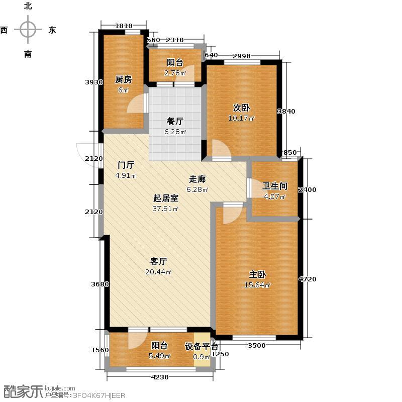 鹿山F鹿山1#2#101,79平米两室两厅一卫户型