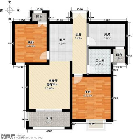 紫麟苑2室1厅1卫1厨111.00㎡户型图